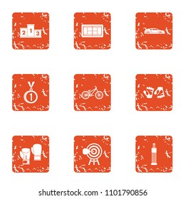 Ascent icons set. Grunge set of 9 ascent vector icons for web isolated on white background