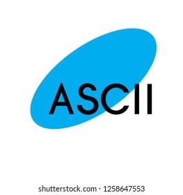 ascii advertising sticker, label, stamp on white