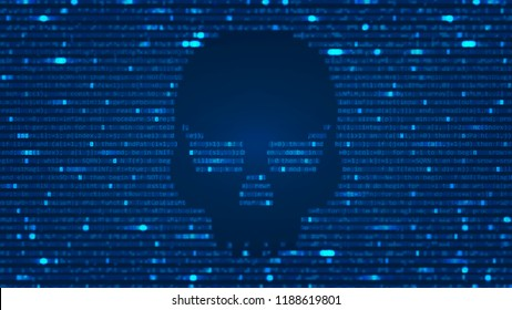 ASCII Art background with hacker skull. Blur Effect with program computer code. Vector Illustration with concept of Hacking. Banner with Ddos-attack, Spam and Computer Virus Concept.