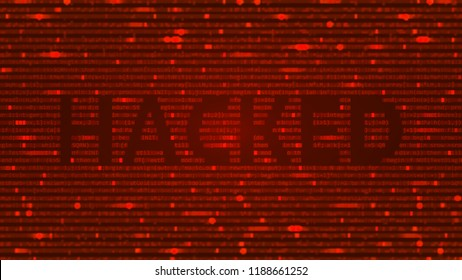 ASCII Art background with word hacked. Data backdrop with Blur Effect with program computer code. Vector Illustration with concept of Hacking. Banner with Ddos-attack, Spam and Computer Virus Concept.