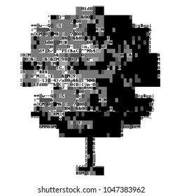 Ascii-art tree with glitch. Corrupted source code. Fatal programming error. Abstract ascii glitch background.