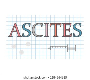 Ascites word on checkered paper sheet- vector illustration