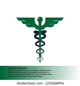 Asclepius Medical Symbol, medicine and healthcare, pharmacy sign vector graphics, flat design, green icon and white background for web and medical apps. Vector illustration