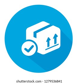 asd Delivered box verification symbol  vector icon illustrationasd