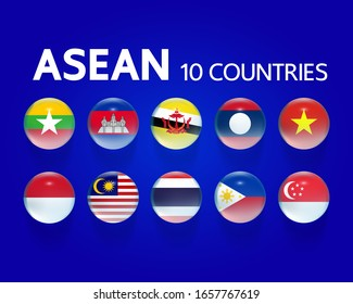 Asean AEC ( Asean Economics Community ) flags 10 countries in circle form with shadows on blue background vector illustration .