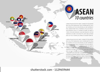 ASEAN ( Association of Southeast Asian Nations ) and GPS navigator location pin with country flag of membership on world map . Vector .