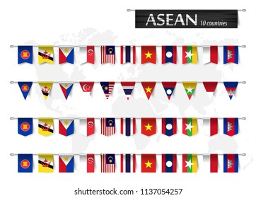 ASEAN ( Association of Southeast Asian Nations ) and various shape nation flag of country membership hanged on pole and world map background . Vector .