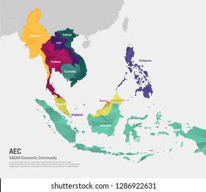 ASEAN ( Association of Southeast Asian Nations ) with name of membership. Southeast Asia Map.