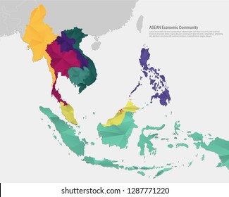 ASEAN ( Association of Southeast Asian Nations ). Southeast Asia Map.
