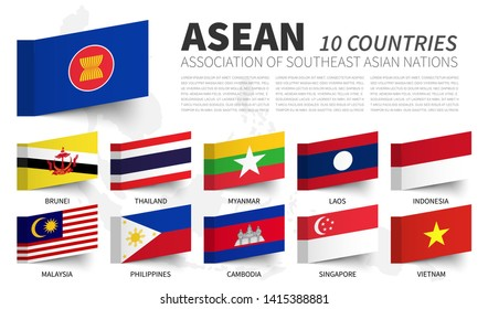 ASEAN . Association of Southeast Asian Nations . and membership flags . Sticky note design . Vector .