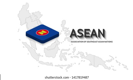 ASEAN ( Association of Southeast Asian Nations ) with association map in 3 D rectangle style with shadow. Light grey countries map background. Vector Illustration. ASEAN summit 2019.