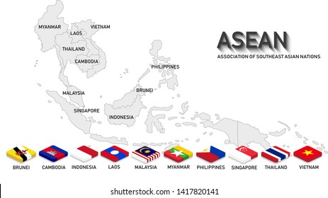 ASEAN ( Association of Southeast Asian Nations ) with country flags of all members in 3 D rectangle style with shadow. Light grey countries map background. Vector Illustration. ASEAN summit.