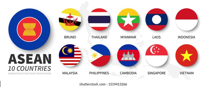 ASEAN . Association of Southeast Asian Nations . and membership flags . Flat simple circle design . Vector .