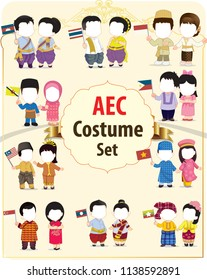 ASEAN boys and girls in traditional costume with flag. map of asean. south east asia