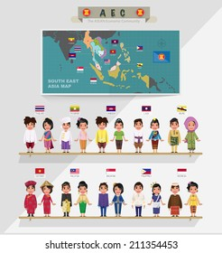 ASEAN boys and girls in traditional costume with flag. map of asean. south east asia - vector illustration