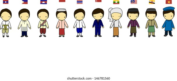 ASEAN boys in traditional costume with flag
