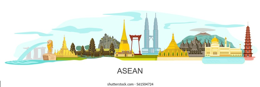 ASEAN buildings on white