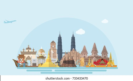 ASEAN Countries iconinc landmarks