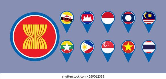 ASEAN Economic Community, AEC business community forum, for design present in vector