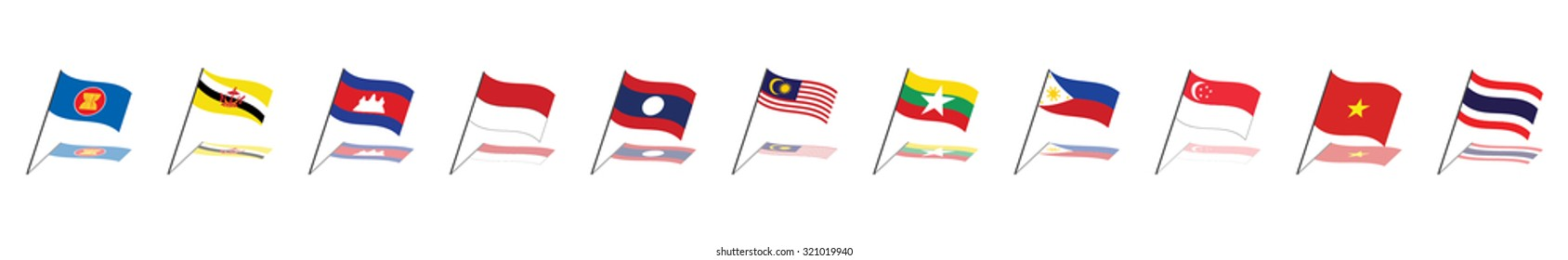 ASEAN Economic Community, AEC business flag forum, for design present template header background in vector