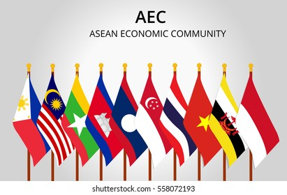 Asean Economic Community and member country flag