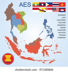 Asean Economics Community (AEC) map of countries with flags