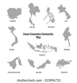 Asean Economics Community dotted map.vector
