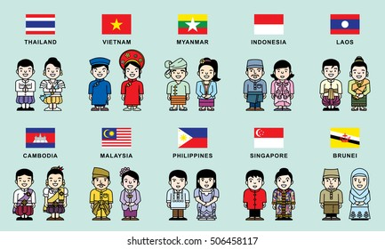 asean economics community  flag & national costume cartoon vector illustration