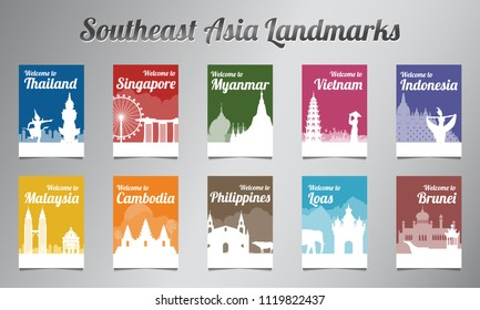 ASEAN famous landmark in silhouette design with multi color style brochure set,vector illustration