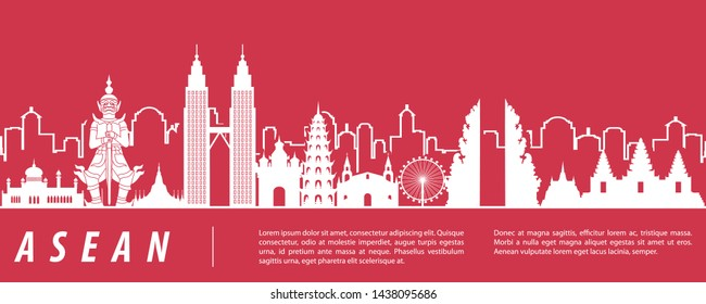 ASEAN famous landmark silhouette with red and white color design,vector illustration