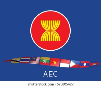 ASEAN flag with the AEC flags
