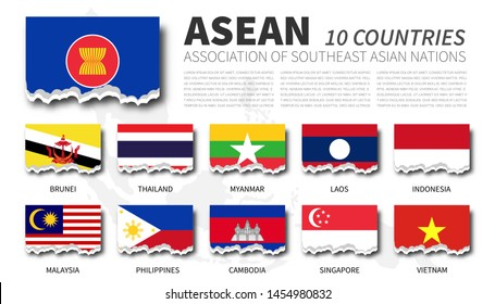 ASEAN flag ( Association of Southeast Asian Nations ) and membership on southeast asia map background . Torn paper design . Vector .