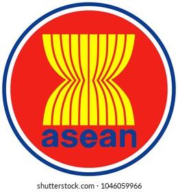 ASEAN flag emblem vector. Association of Southeast Asian Nations