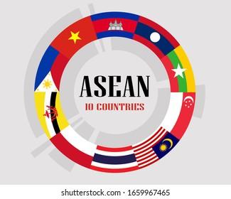 asean flags circle form, AEC (Asean Economic Community ) flags 10 countries vector illustration.