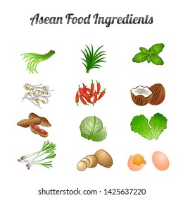 asean food ingredients set bundle include vegetables and meat in gradient cartoon design,vector illustration
