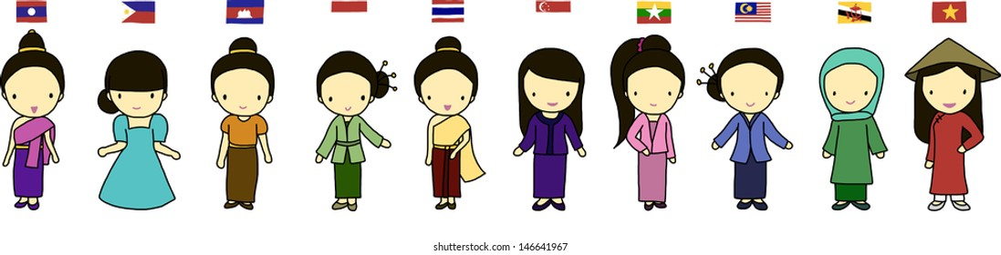 ASEAN girls in traditional costume with flag