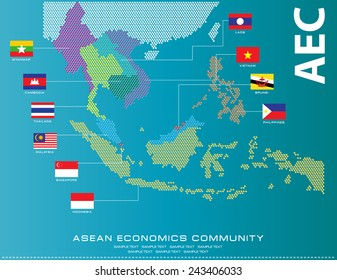 Asean Map dotted style illustration, for background (AEC, AFTA, ASEAN), easy to modify