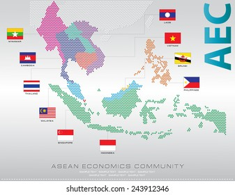 Asean Map dotted style illustration, for background (AEC, AFTA, ASEAN) with 3D Flag, easy to modify