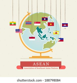 ASEAN map and hanging flags - vector illustration