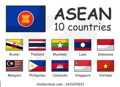 ASEAN and membership flag . Association of Southeast Asian Nations . Modern simple cartoon outline design and doodle world map background .