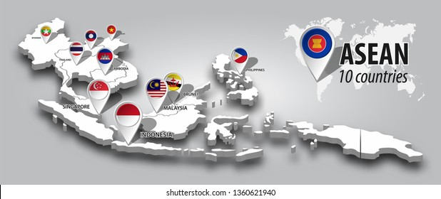 ASEAN and membership flag on 3D map Southeast asia perspective view and GPS navigator pin on gray color gradient background . Vector .