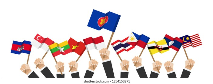 ASEAN and membership flags . Businessman hand hold and raise up flagpole . White isolated background . Flat design . Vector .