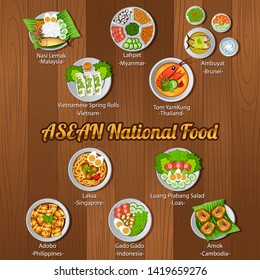 ASEAN national delicious and famous food.with wooden background,vector illustration