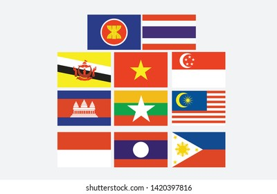 ASEAN Southeast Asia , ASEAN  flags set and member flags ,vector design element illustration