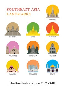 ASEAN, Southeast Asia Landmark Set, Famous Place, Travel and Tourist Attraction