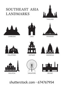 ASEAN, Southeast Asia Landmark Silhouette Set, Famous Place, Travel and Tourist Attraction
