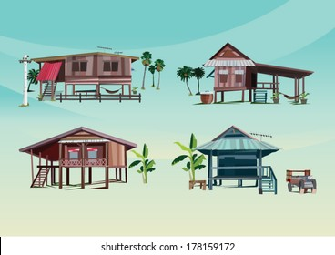 asean wood home - vector illustration