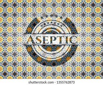 Aseptic arabesque style emblem. arabic decoration.