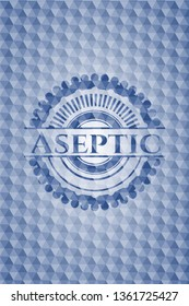 Aseptic blue badge with geometric pattern background.