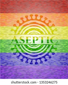 Aseptic emblem on mosaic background with the colors of the LGBT flag